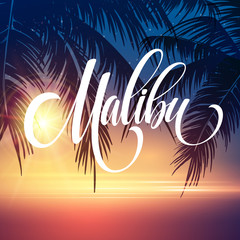 Malibu California handwriting lettering on the palm leaf tropical background. Vector illustration