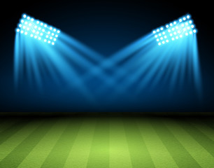 Football arena with spotlights.