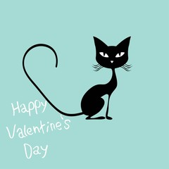 Pink hearts and cute cartoon cat. Flat design style. Vector illustration