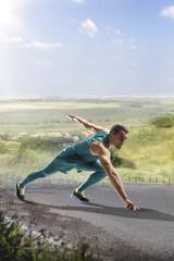 Male runner sprinting during outdoors training for marathon run