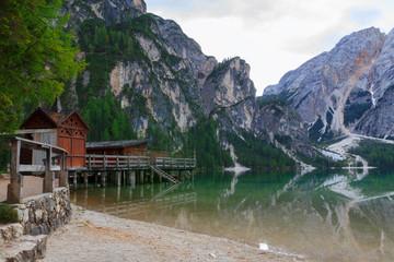 Braies lake in the Dolomites