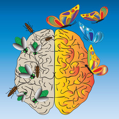 Vector illustration about temptation and negative thoughts. On the blue background  is  a human brain with  green flies, cockroaches, butterflies .(Can be repeated and scaled in any size.)