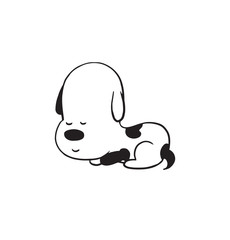 Vector cartoon image of a funny little dog black-white colors lying and sleeping on a white background. Made in monochrome style. Positive character. Vector illustration.