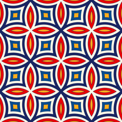 Bright ethnic abstract background. Seamless pattern with symmetric geometric ornament. - 111578149