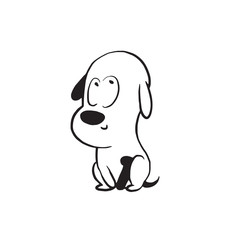 Vector cartoon image of a funny little dog black-white colors showing that he is good on a white background. Made in monochrome style. Positive character. Vector illustration.