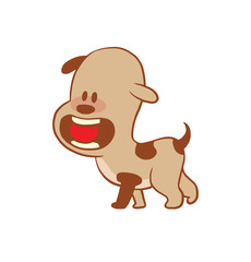 Vector cartoon image of a funny little dog light brown color with a red ball in his mouth on a white background. Color image with a brown tracings. Puppy. Positive character. Vector illustration.