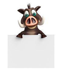 cute Boar cartoon character with white board