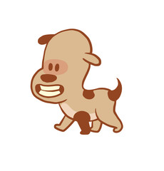 Vector cartoon image of a funny little dog light brown color walking and smiling on a white background. Color image with a brown tracings. Puppy. Positive character. Vector illustration.