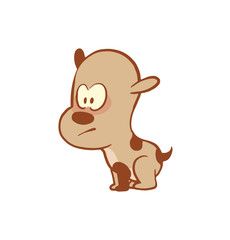 Vector cartoon image of a funny little dog light brown color standing tensely on a white background. Color image with a brown tracings. Puppy. Positive character. Vector illustration.