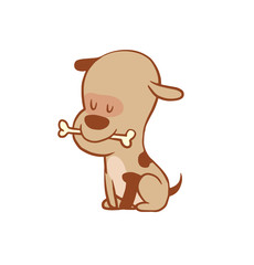 Vector cartoon image of a funny little dog light brown color with a bone in his mouth on a white background. Color image with a brown tracings. Puppy. Positive character. Vector illustration.