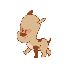 Vector cartoon image of a funny little angry dog light brown color walking somewhere on a white background. Color image with a brown tracings. Puppy. Positive character. Vector illustration.