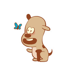 Vector cartoon image of a funny little dog light brown color looking at the butterfly on a white background. Color image with a brown tracings. Puppy. Positive character. Vector illustration.