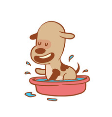 Vector cartoon image of a funny little dog light brown color bathing in the pink basin on a white background. Color image with a brown tracings. Puppy. Positive character. Vector illustration.