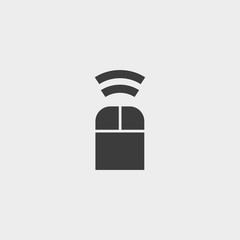 Mouse bluetooth icon in a flat design in black color. Vector illustration eps10