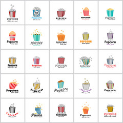 Popcorn Icons Set - Isolated On White Background - Vector Illustration, Graphic Design