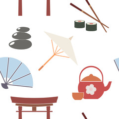 Seamless background with Japanese symbols for your design