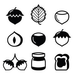 Hazelnuts, nuts - food vector icons set