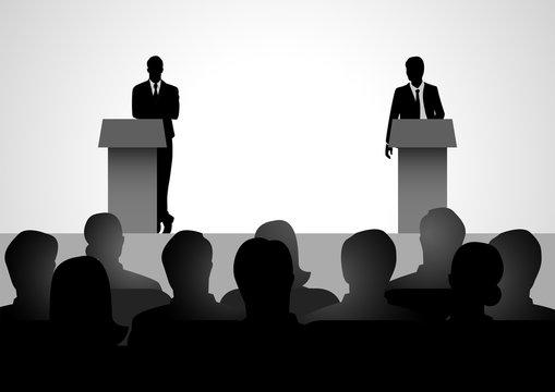 Two men figure debating on podium