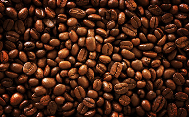 gold coffee bean background, over light