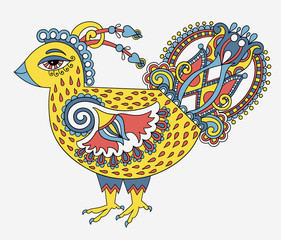 retro cartoon chicken drawing, symbol of 2017 new year of the ro