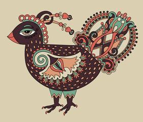 original retro cartoon chicken drawing, symbol of 2017 new year