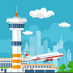 Airplane Takes Off from the Airport, Control Tower and Airplane on the Background of the City, Travel and Tourism Concept , Air Travel and Transportation, Vector Illustration