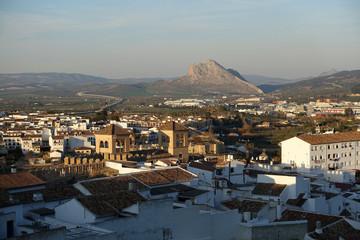 Looking over the town of Antequera towards Pena de los Enamorados or Lovers Rock