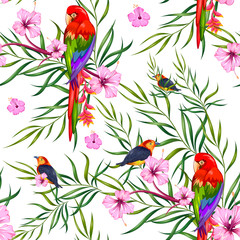 Seamless Pattern with Exotic Tropical Flower and colorful bird