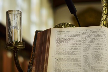 Open Bible on Pulpit