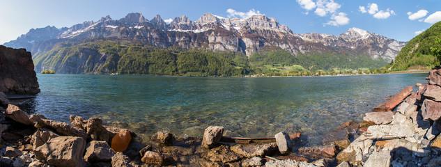 walensee lake switzerland high definition panorama