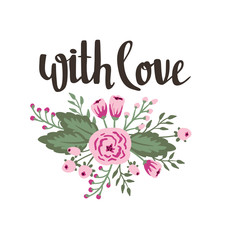"""Poster template - """"with love"""". Wedding, marriage, save the date, Valentine's day. Stylish simple floral design. Vector illustration."""