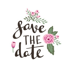 """Poster template - """"save the date"""". Wedding, marriage, save the date, Valentine's day. Stylish simple floral design. Vector illustration."""