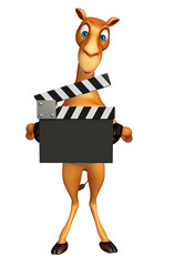 fun Camel cartoon character with clapper board