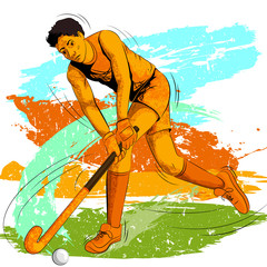 Concept of sportsman playing Field Hockey
