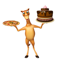 fun Camel cartoon character with pizza and cake