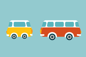 Retro bus. Flat vector concept.