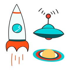 Set of space objects icons. Outer space, rocket, comet, planets, ufo. Childish background. Hand drawn vector illustration. Cartoon
