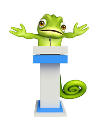 cute Chameleon cartoon character with speech stage