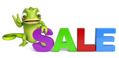 fun Chameleon cartoon character with big sale sign