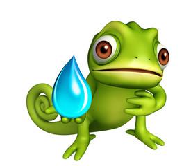 fun Chameleon cartoon character with water drop