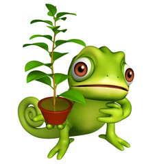 cute Chameleon cartoon character with plant