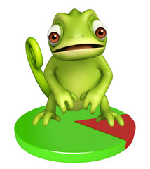 Chameleon cartoon character with circle sign