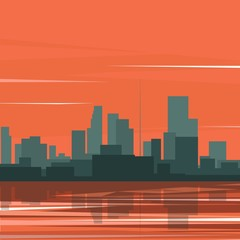 Cityscape by the river background. Vector illustration.