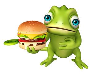 fun Chameleon cartoon character with burger