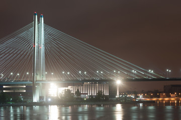 Night view of the cable-stayed bridge in the city Sankt-Petersburg
