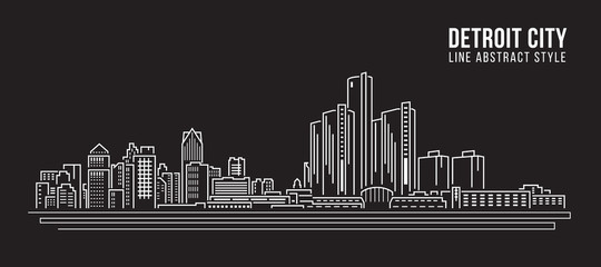 Cityscape Building Line art Vector Illustration design - detroit city