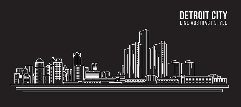 Cityscape Building Line art Vector Illustration design - detroit city