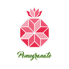 Pomegranate, vector geometric illustration. Symbol of New Year in Judaism.
