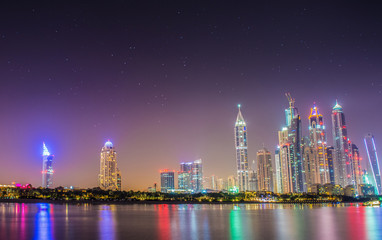 Dubai Marina Night Scene