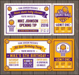 Basketball Vector Ticket Templates